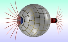 Magnetic field lines (red) entering and exiting the spherical device developed by researchers at Autonomous University of Barcelona.