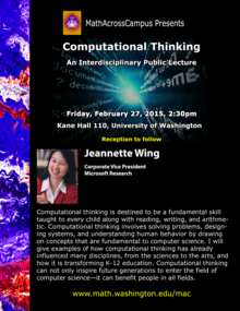 Jeannette Wing, MathAcrossCampus poster