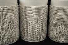 Burst and Follow Series (Cellular Automata), 3D printed porcelain.